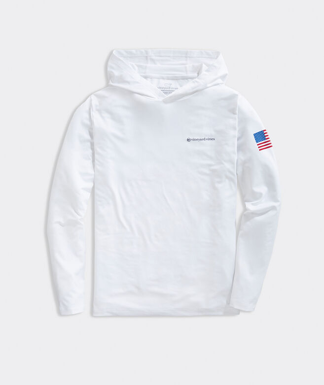USA Long-Sleeve Hoodie Performance Tee