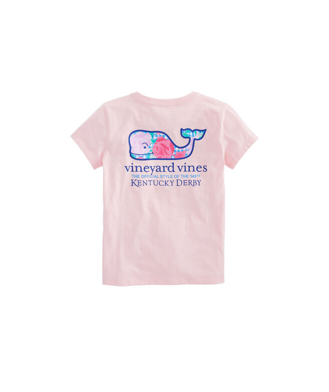 Girls Run For The Roses Whale Fill Pocket Tee