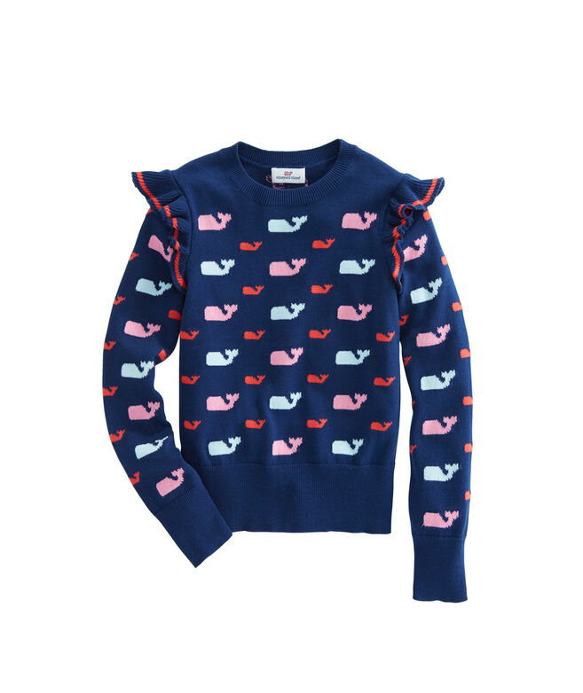 Girls Allover Whale Ruffle Sweater