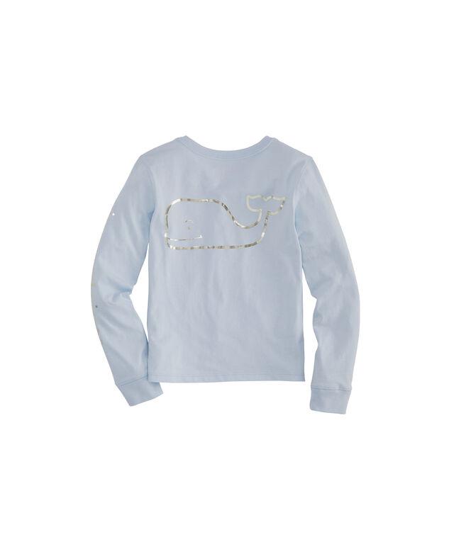 Girls Foil Whale Long-Sleeve Pocket Tee