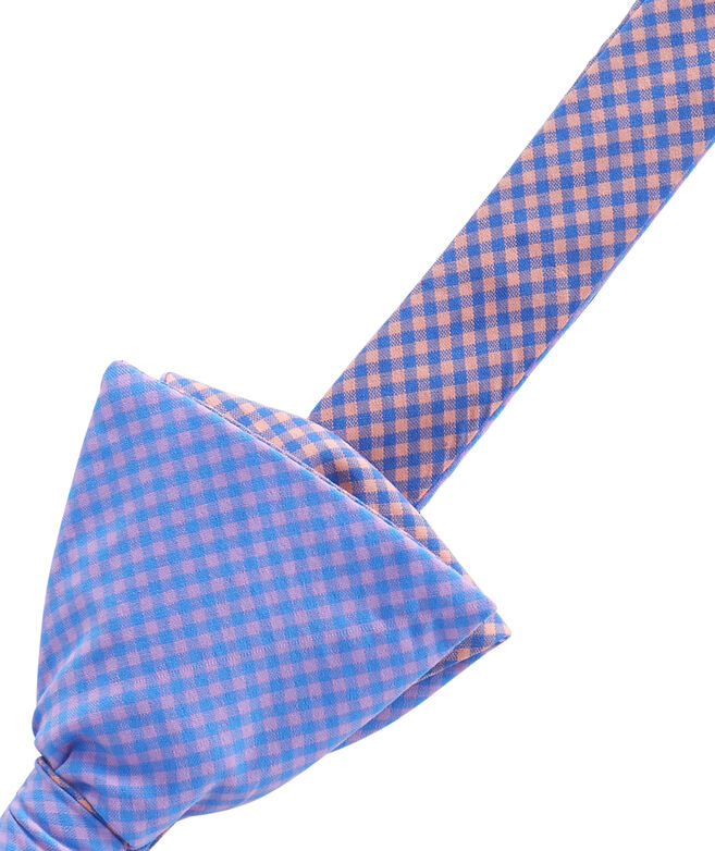 Two Tone Gingham Bow Tie