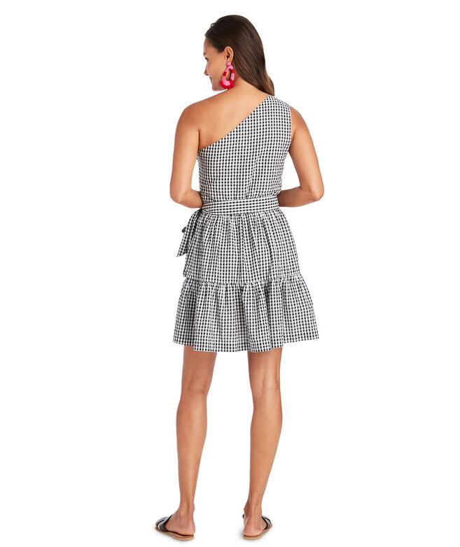 Gingham Seersucker One Shoulder Dress