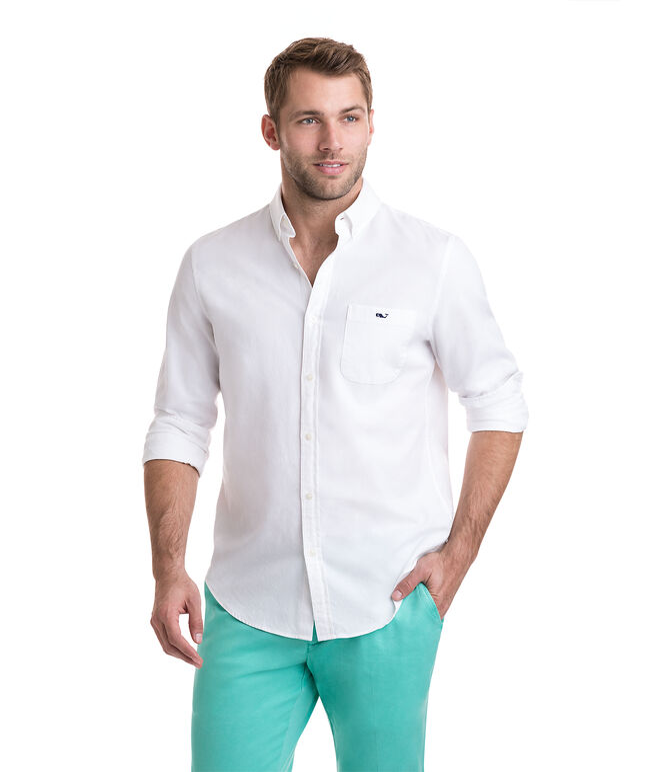Garment Dyed Oxford Slim Stretch Tucker Shirt