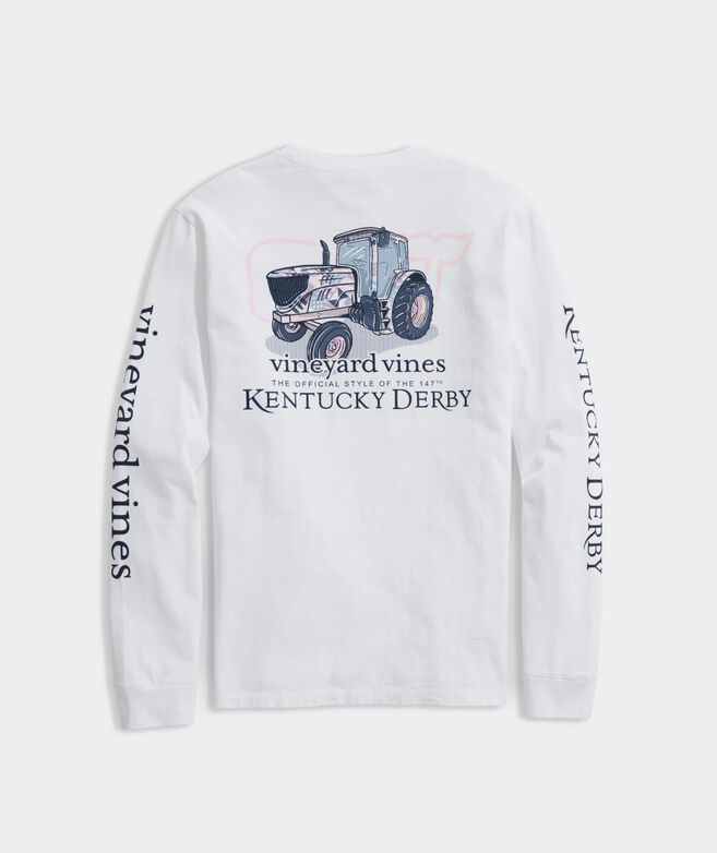 Kentucky Derby Patchwork Tractor Long-Sleeve Pocket Tee