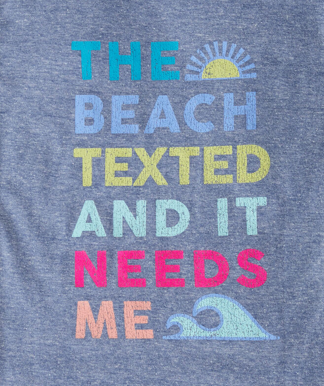 Girls' The Beach Texted Short-Sleeve Ringer Tee