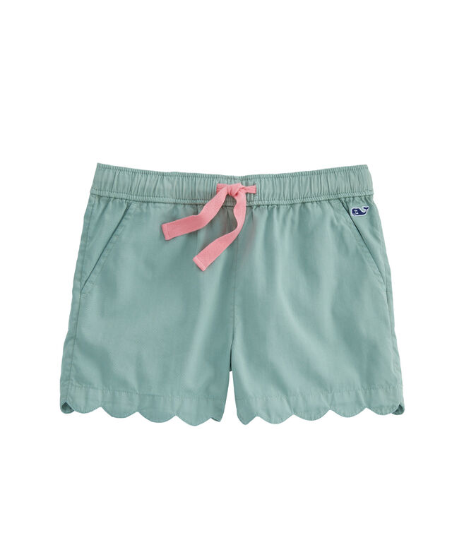 Girls Garment-Dyed Scallop Hem Pull-On Shorts