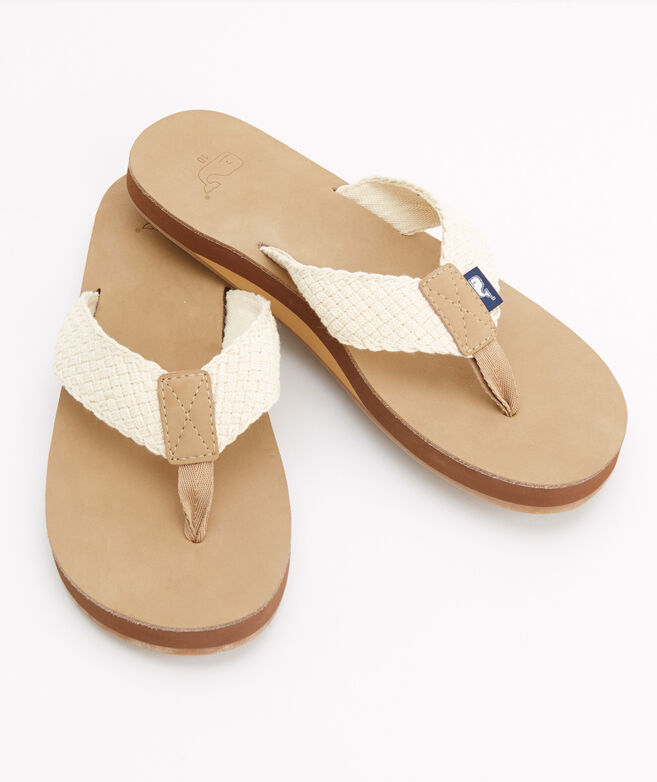 Leather Flip Flops With Washed Webbing