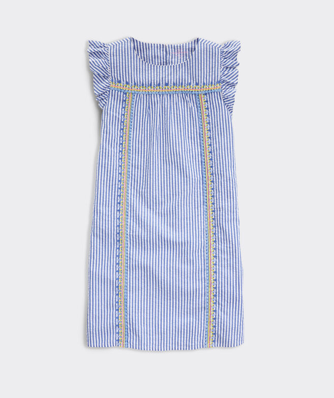 Girls' Embroidered Seersucker Dress