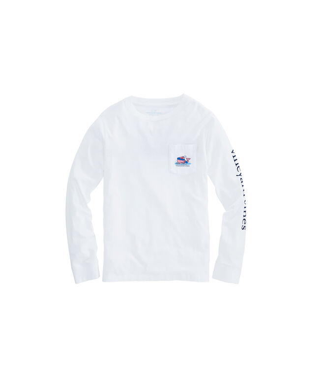 Kids Pond Hockey Whale Long-Sleeve Pocket Tee