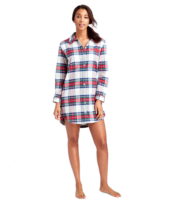 Jolly Plaid Flannel Lounge Shirtdress