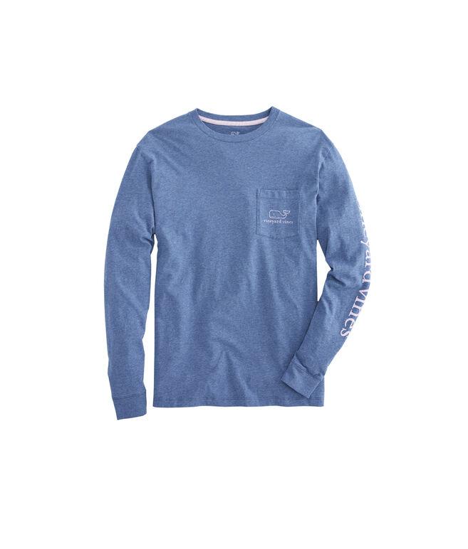 Long-Sleeve Heathered Vintage Whale Pocket T-Shirt