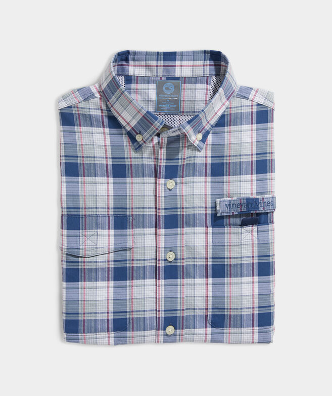 Classic Fit Plaid Harbor Shirt in Performance Nylon