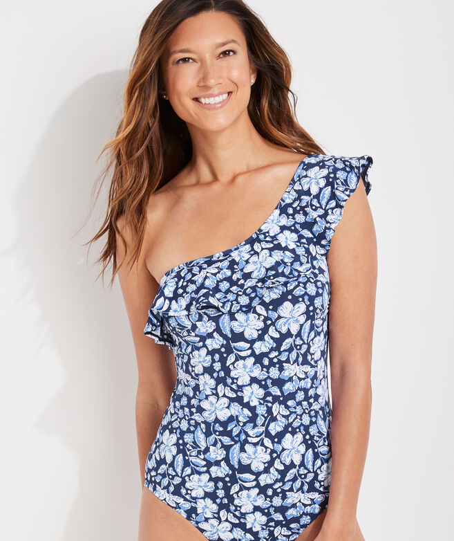 Hibiscus Floral Ruffle One-Shoulder One-Piece