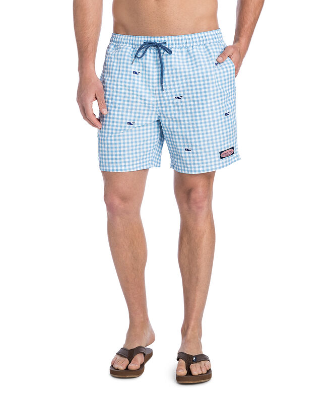 Printed Gingham With Whale Embroidered Chappy Trunks