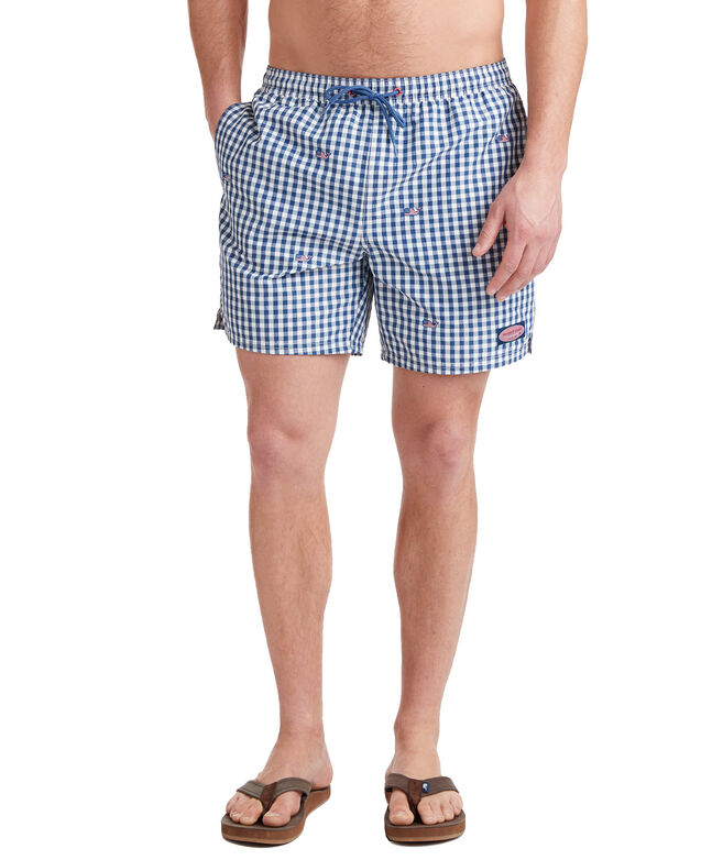 8b911d99fc Shop Flag Whale Embroidered Gingham Chappy Trunks at vineyard vines