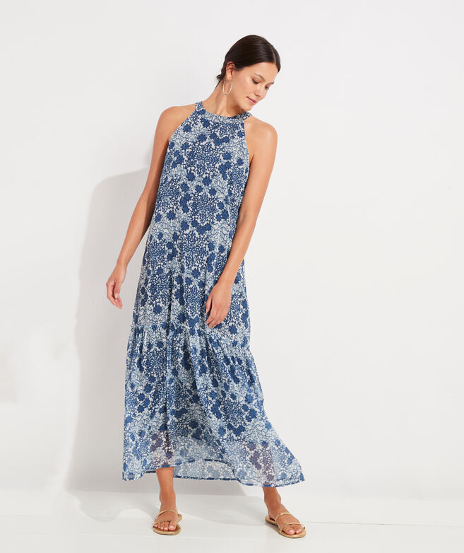 Hydrangea Floral Halter Maxi Dress