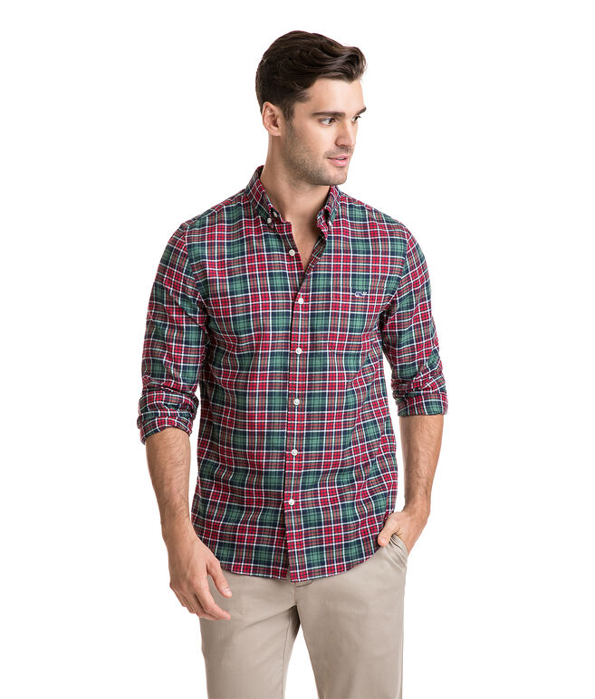 Bold Point Plaid Performance Flannel Slim Tucker Shirt
