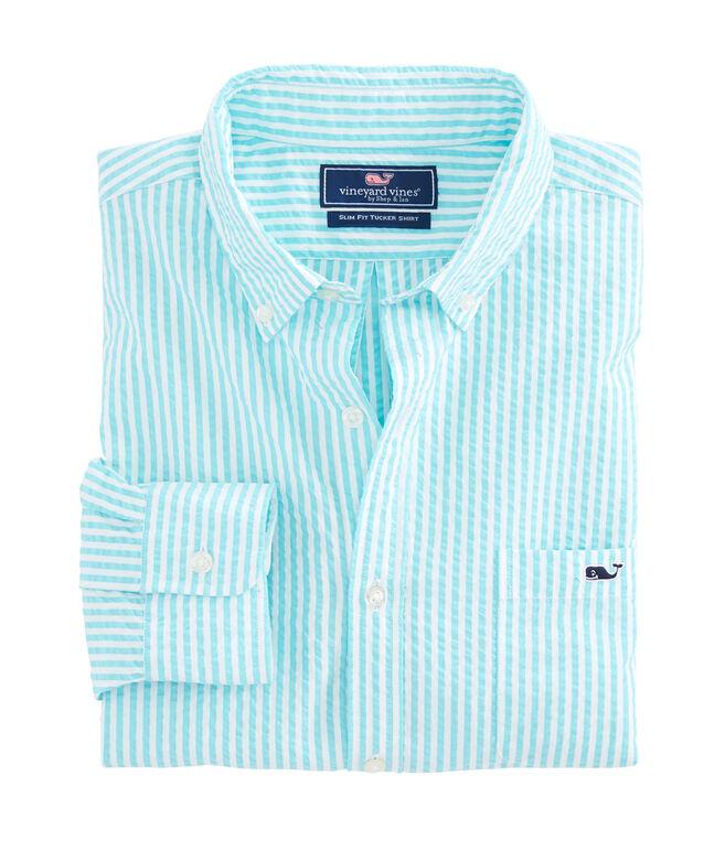 Skysail Stripe Seersucker Performance Slim Tucker Shirt