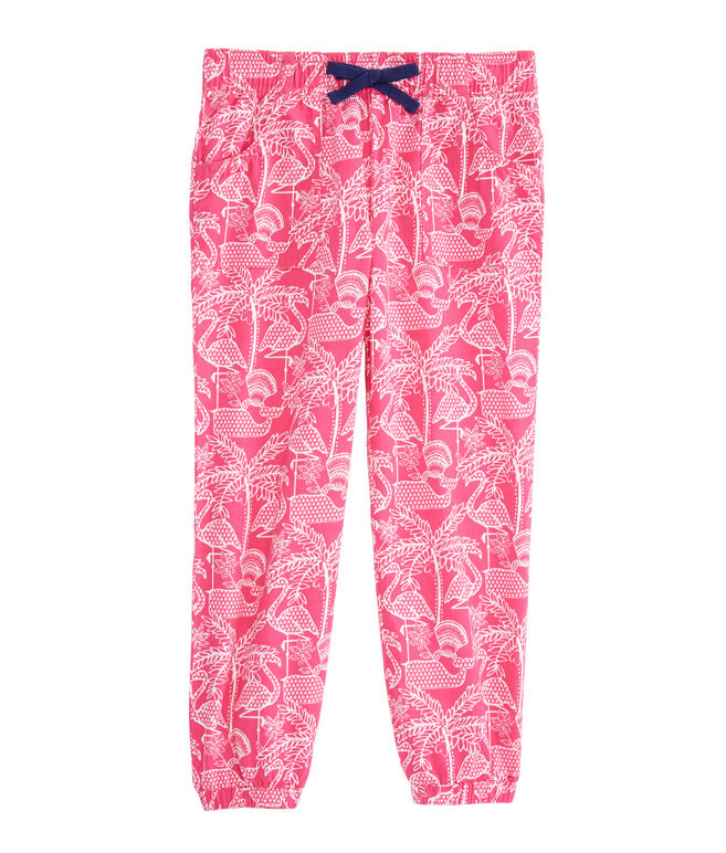 Girls Flamingo Print Pull On Pants