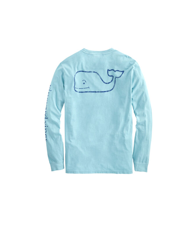Garment-Dyed Vintage Whale Long-Sleeve Pocket T-Shirt