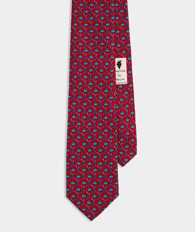 Crossed Skis & Lift Printed Tie