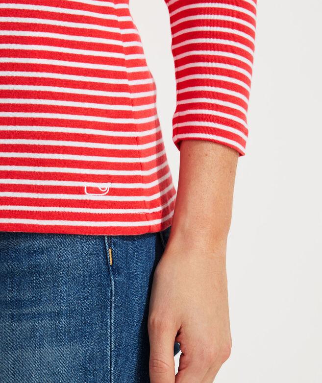 Striped Simple Boatneck Long-Sleeve Tee