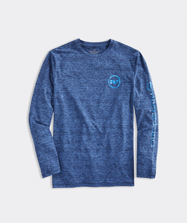 Camo Whale Dot Harbor Performance Long-Sleeve Tee