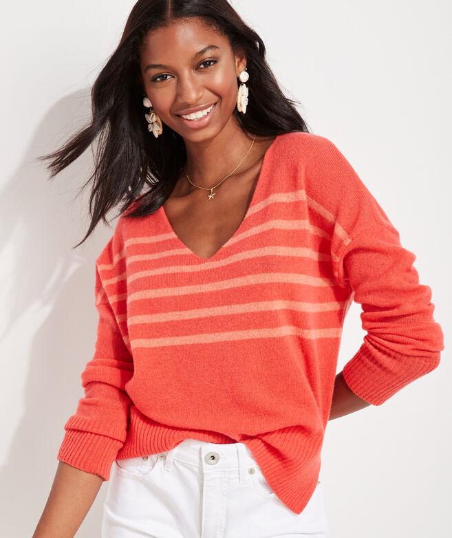 Seaspun Lightweight Cashmere Stripe V-Neck Sweater