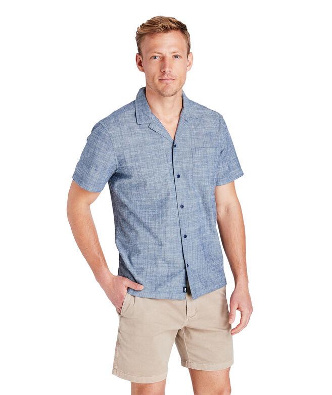 Short-Sleeve Moonshell Chambray Cabana Collar Shirt