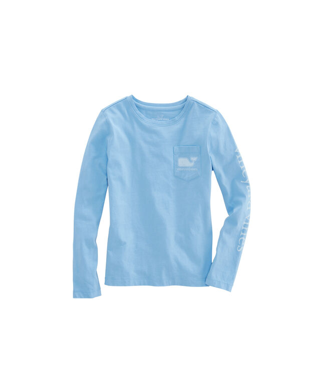 Girls Long-Sleeve Solid Vintage Whale Pocket Tee