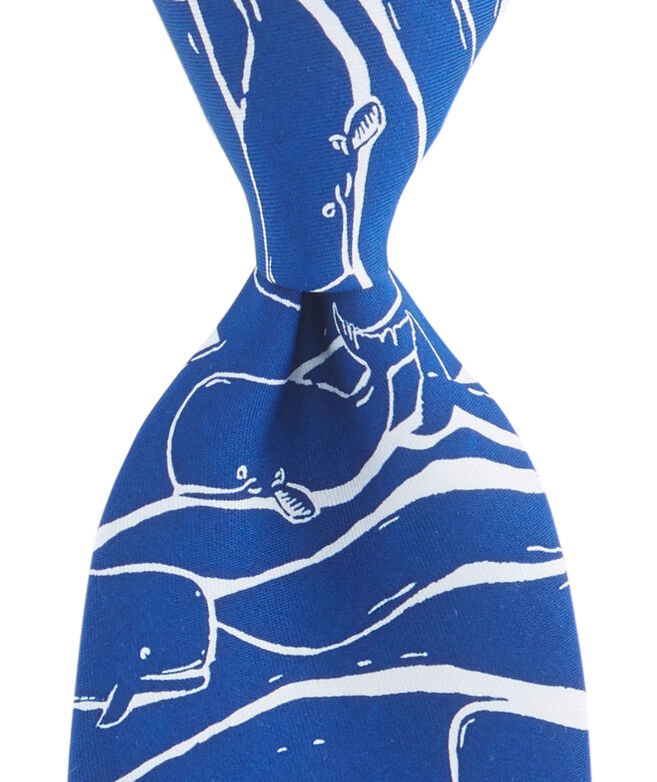 Woodblock Whale Tie