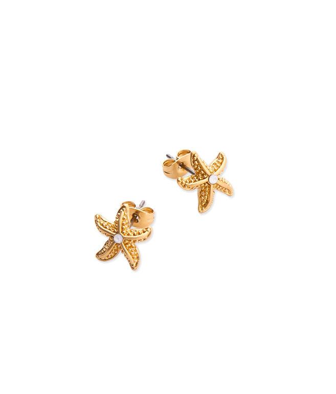 Starfish Fabric Button Earrings