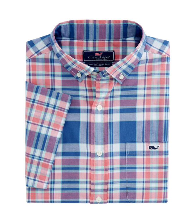Short-Sleeve Freeport Plaid Classic Tucker Shirt