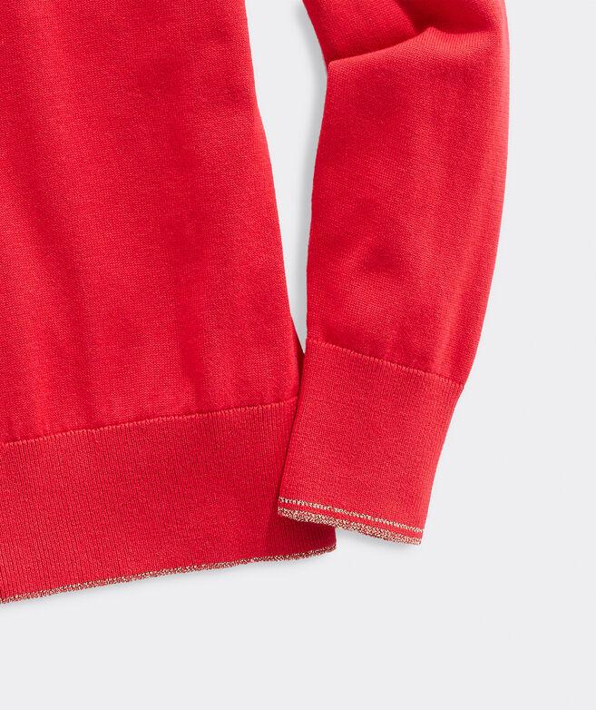 Lurex Heritage Cotton V-Neck Sweater