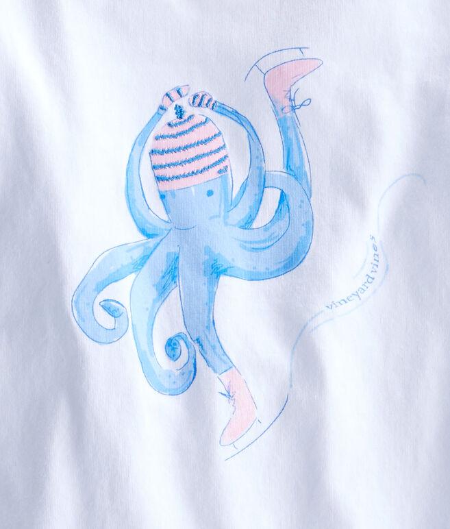 Girls Long-Sleeve Skating Octopus Tee