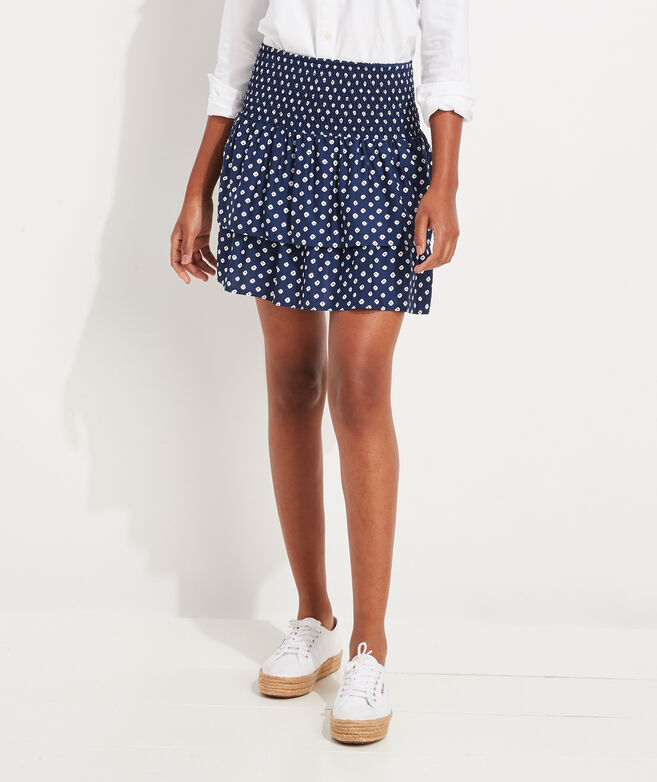 Stingray Print Smocked Skirt