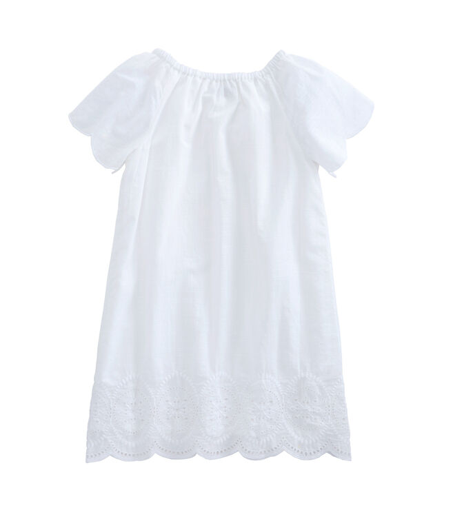 Girls Eyelet Scallop Dress