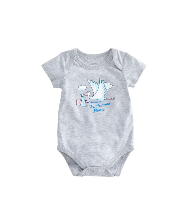 Short-Sleeve Stork Baby Bodysuit