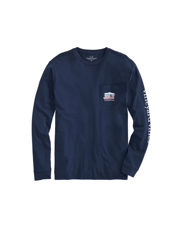 Big & Tall Tailgate Whale Long-Sleeve Pocket Tee
