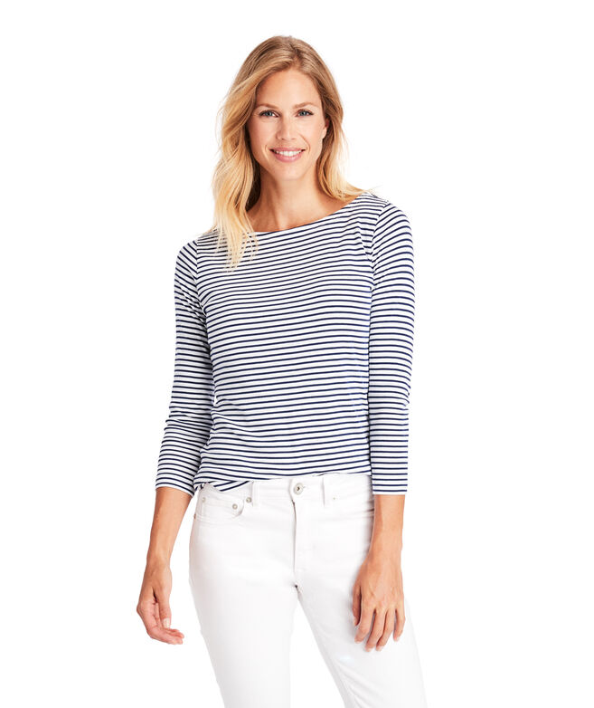 Striped Simple Boatneck Long-Sleeve Tee