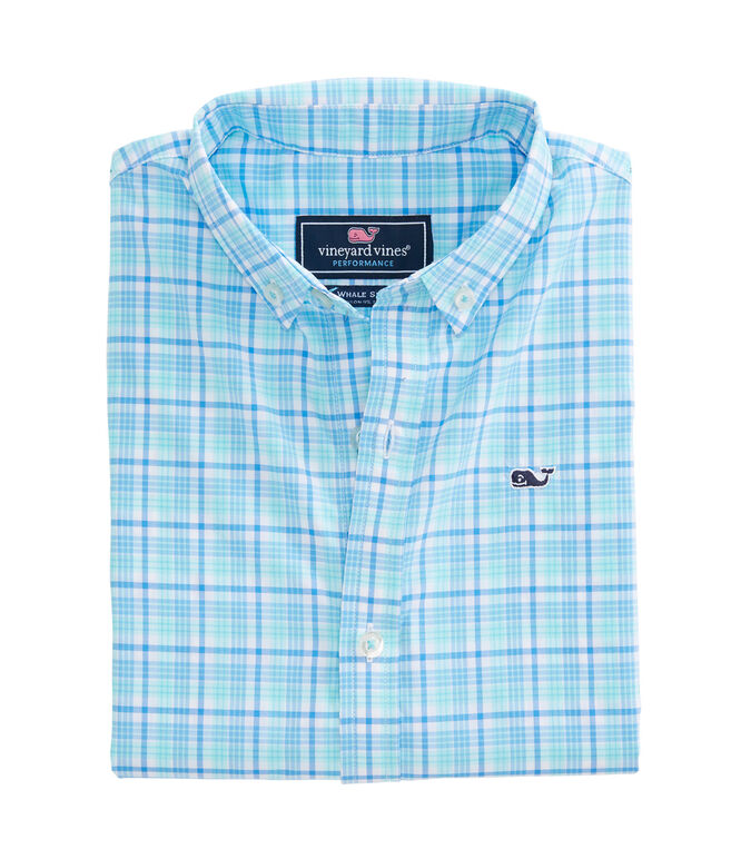 Boys Marsh Harbor Plaid Performance Whale Shirt
