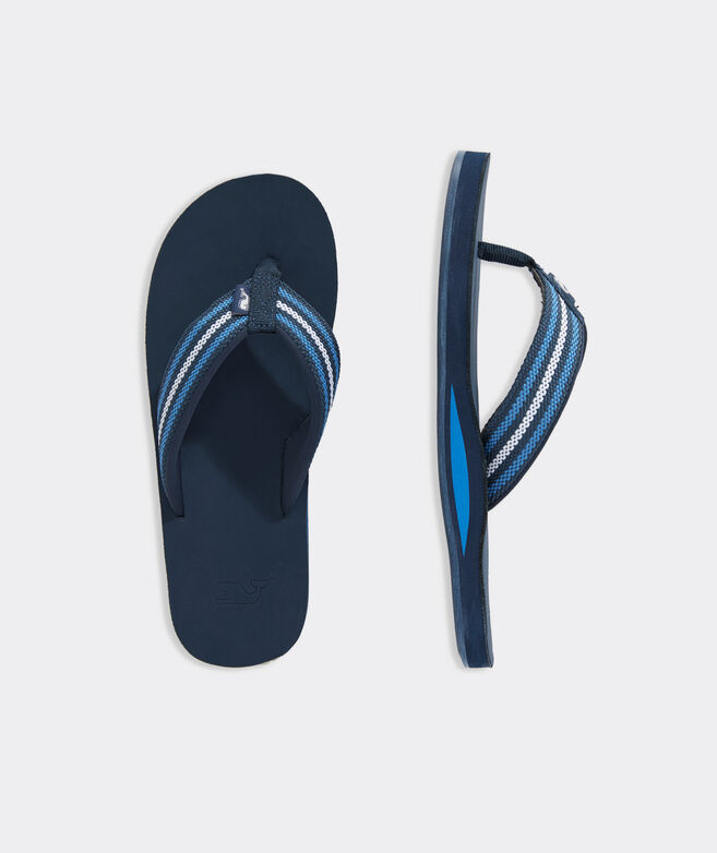 Multi Stripe Leather Flip Flops