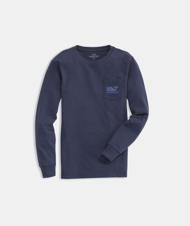 Boys' Tonal Flag Whale Fill Long-Sleeve Pocket Tee