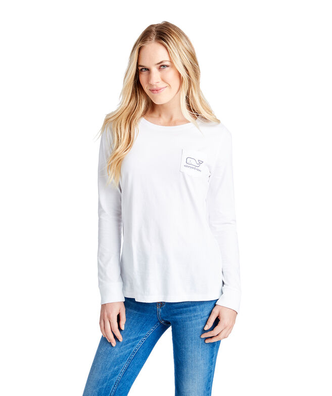 Outlet Women's Long-Sleeve Candy Cane Whale Pocket Tee