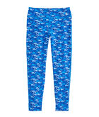 Girls Whale Outline Print Performance Leggings
