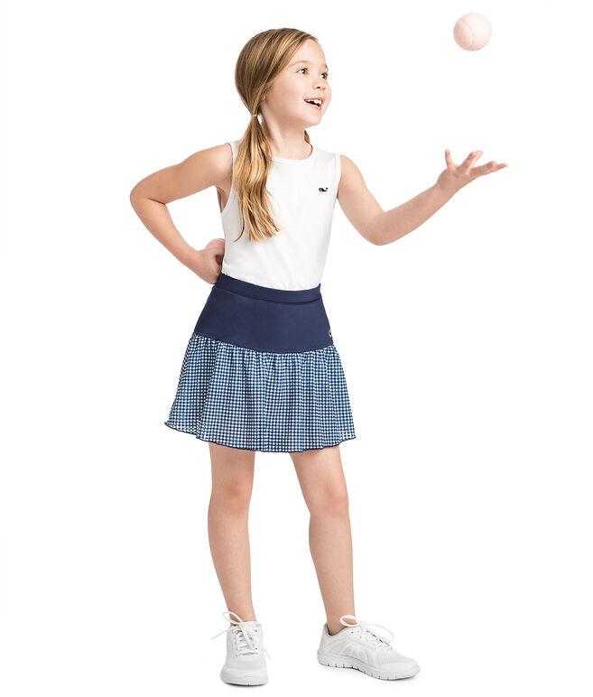 Girls Gingham Lace Performance Skort