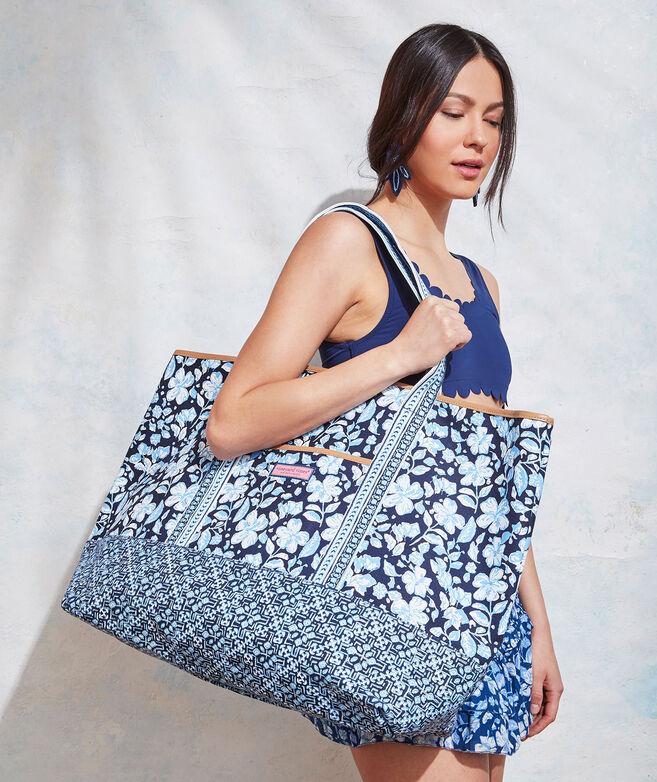 Hibiscus Floral Mix Print Tote Bag