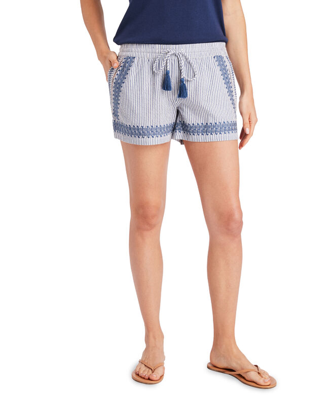 Skiff Stripe Seersucker Embroidered Pull-On Shorts
