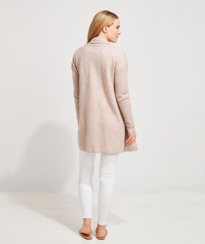 Cashmere Linen Open-Front Cardigan