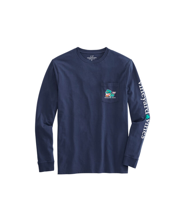 Long-Sleeve Kiss Me I'm Irish Pocket T-Shirt